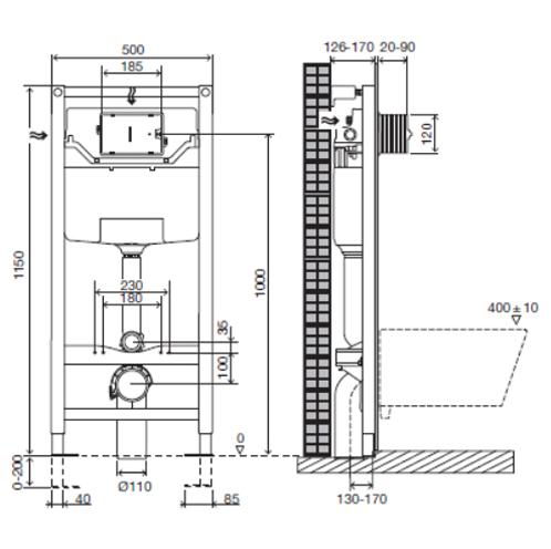 Комплект: инсталляция Jacob Delafon с унитазом Presquile E5504-NF/E4316/E4440-00