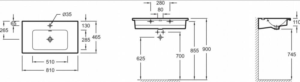 Раковина мебельная Jacob Delafon Vox EXAE112-Z-00, 80*46 см