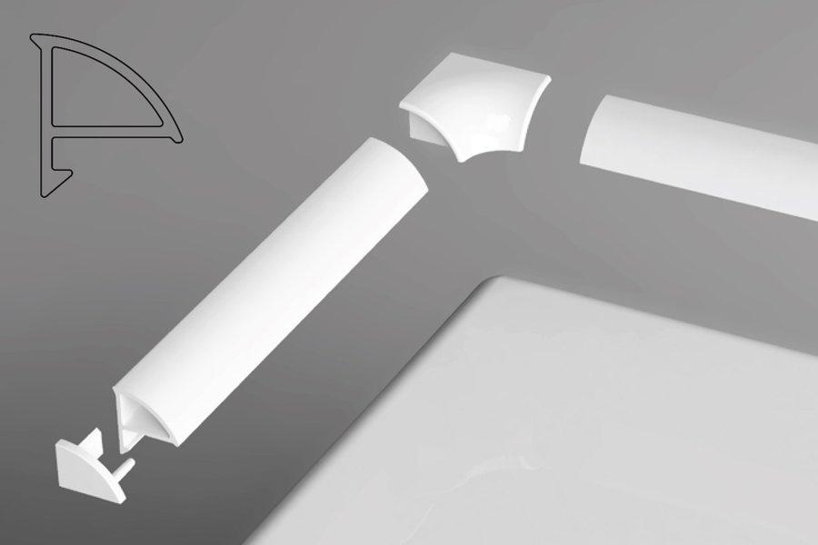 Комплект декоративных планок для ванн Ravak, для уплотнения зазора до 6 мм (планки 110 см и 200 см, 2 боковые заглушки, 2 угловых соединения)