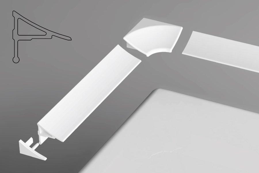 Комплект декоративных планок для угловых ванн Ravak, для уплотнения зазора до 11 мм (планка 200 см - 2 шт., 2 боковые заглушки, 2 угловых соединения)