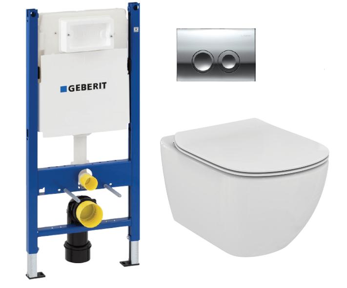 Комплект: Инсталляция Geberit Duofix 458.124.21.1 3 в 1 + Унитаз подвесной Ideal Standard Tesi T007901 с крышкой-сиденьем SoftClose