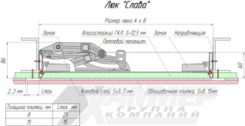 Люк настенный Хаммер Слава ширина 40, высота 50