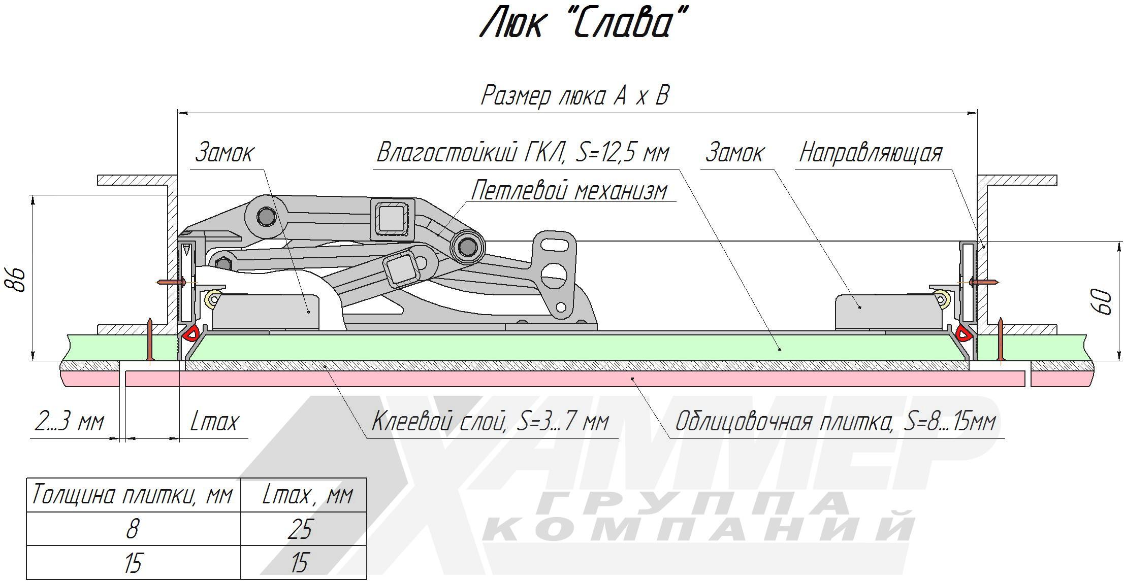 Люк настенный Хаммер Слава ширина 60, высота 60