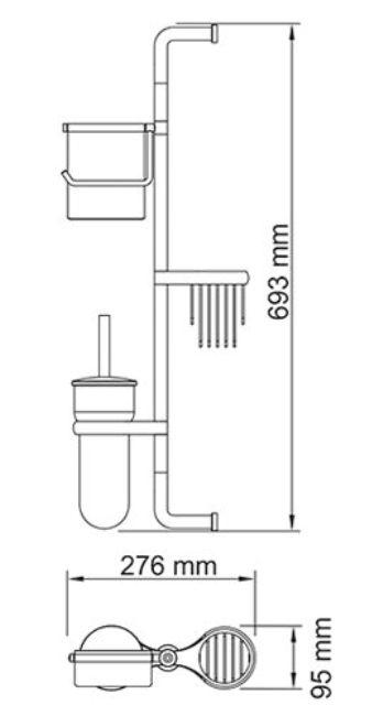 Стойка WasserKraft К-1468 настенная, комбинированная