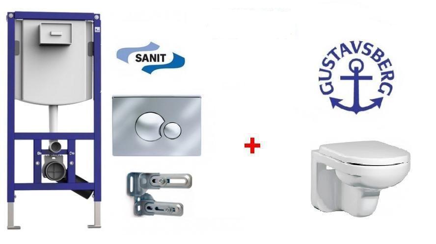 Комплект: Унитаз Gustavsberg Artic 4330 GB114330 подвесной с крышкой-сиденьем Soft close, инсталляция Sanit Ineo Plus 90.721.00.0000, клавиша