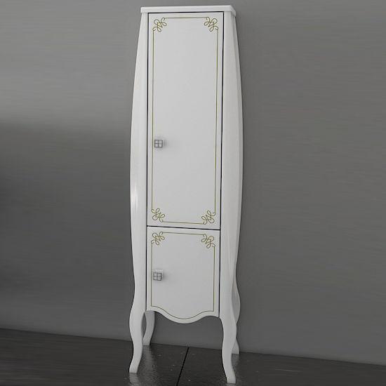 Шкаф-пенал АСБ-Мебель Парма белый патина золото