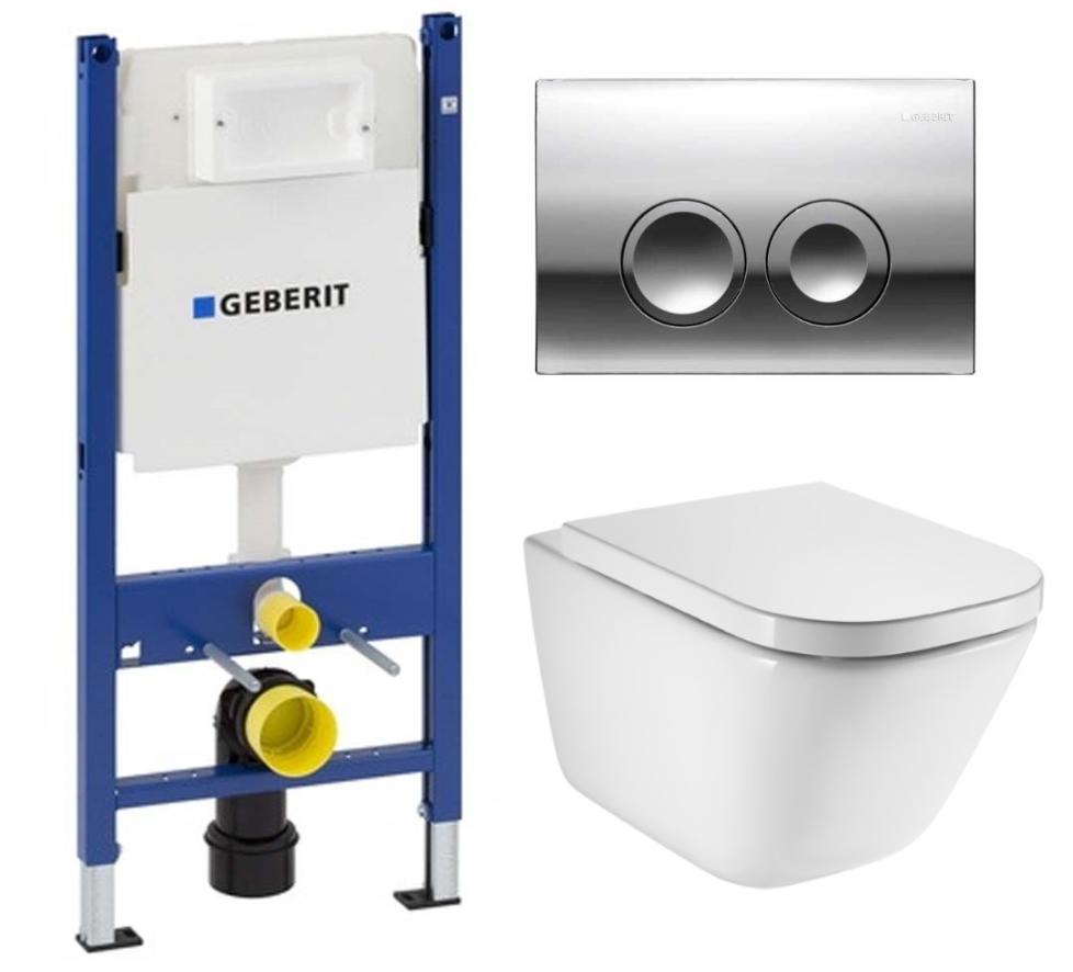Комплект: инсталляция Geberit Duofix 3 в 1 с подвесным унитазом Roca GAP Rimless 34647L000