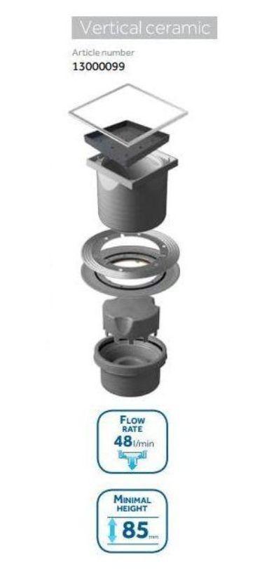 Трап водосток Pestan Confluo Standard Vertical Ceramic 150*150 мм Ceramik под плитку с рамкой сталь 13000099