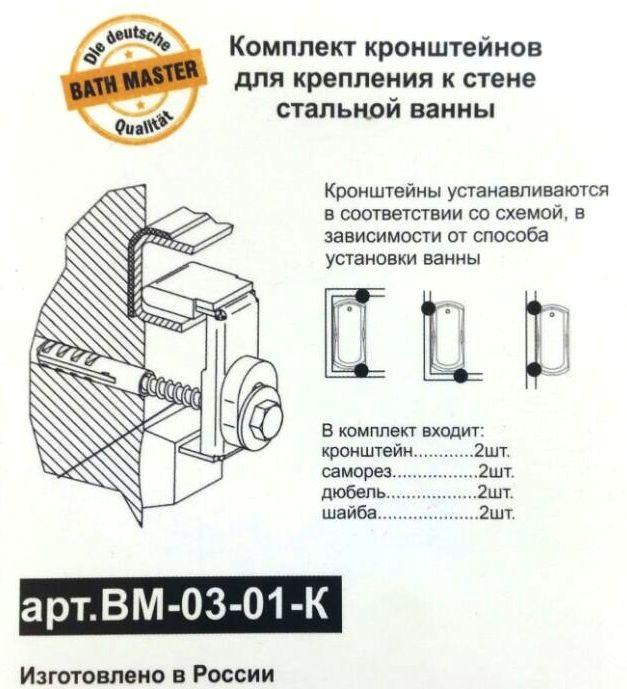 Комплект анкеров Kaldewei Bath Master BM-03-01-K для крепления ванны к стене