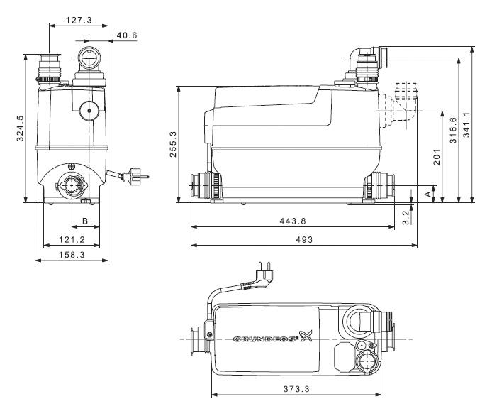 Канализационная установка Grundfos Sololift 2 C-3 поверхностная