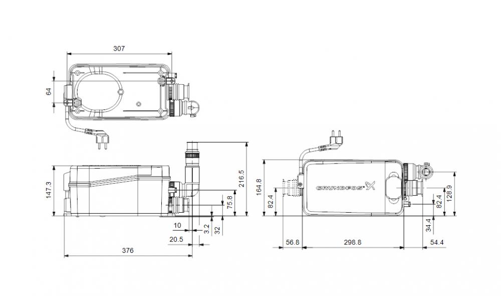 Канализационная установка Grundfos Sololift 2 D-2 поверхностная