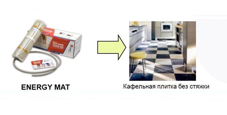 Теплый пол Energy Mat 8,80-1400 Вт, площадь обогрева 8,80 м2, длина 17,60 м