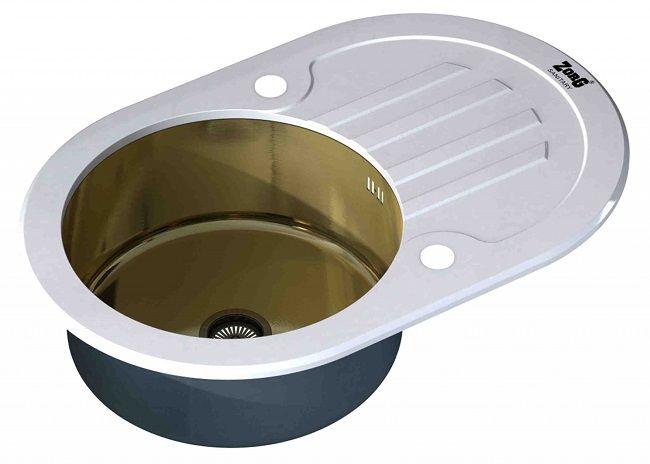 Мойка Zorg Inox Glass GL-7851-OV-WHITE-BRONZE, цвет белый-бронзовый