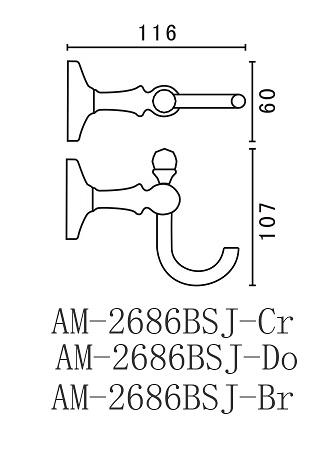 Крючок Art&Max Antic Crystal AM-2686BSJ-Cr, хром