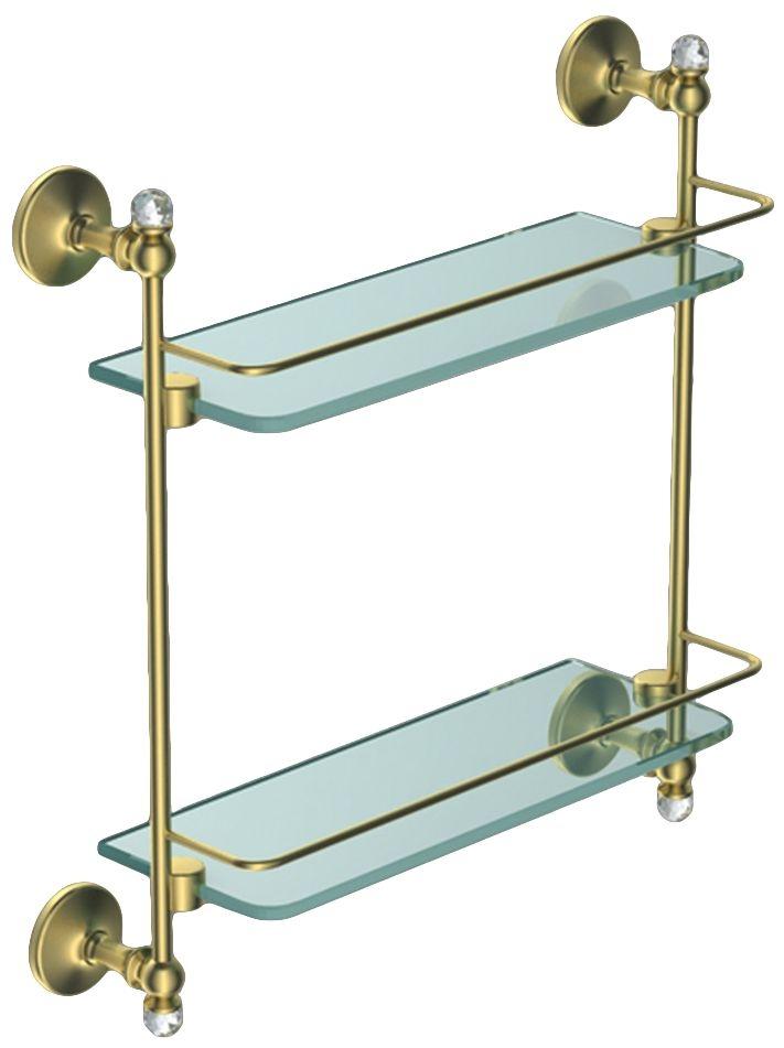 Двойная стеклянная полка Art&Max Antic Crystal AM-2682BSJ-Do, золото