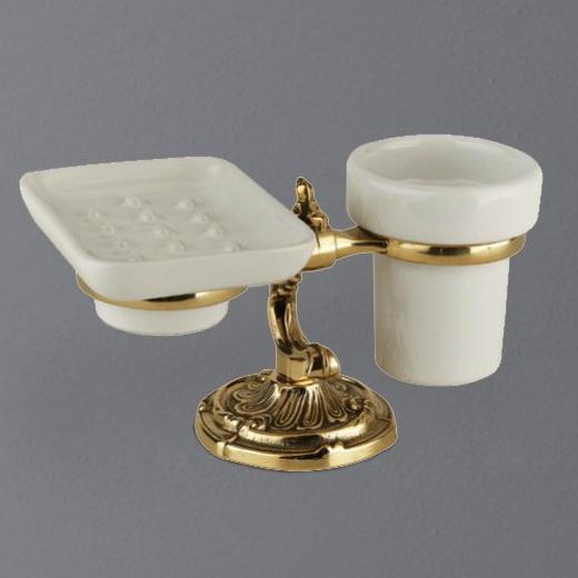 Стакан и мыльница Art&Max Barocco AM-1789-Do-Ant, античное золото
