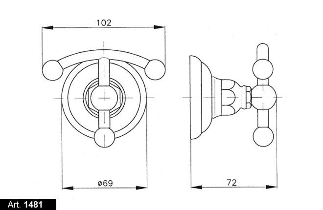 Крючок для полотенец Nicolazzi Classic 1481CR05, металл