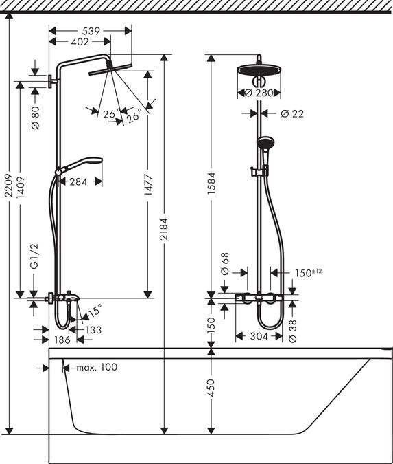 Душевая система Hansgrohe Croma Select S 280 26792000, SHP Wanne chrom