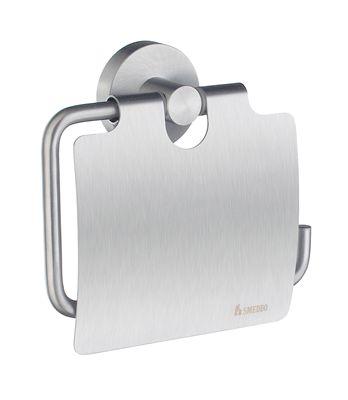 Держатель для туалетной бумаги Smedbo Home HS3414 с крышкой, матовый хром