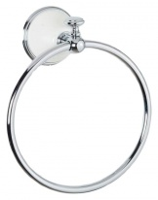 Полотенцедержатель кольцевой Tiffany World Harmony TWHA015bi/cr, белый/хром
