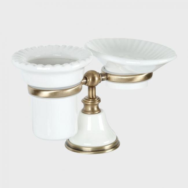 Мыльница и стакан для щеток Tiffany World Harmony арт. TWHA141bi/br, белый/бронза