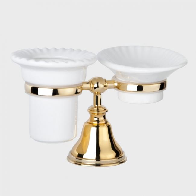 Мыльница и стакан для щеток Tiffany World Harmony арт. TWHA141oro, золото