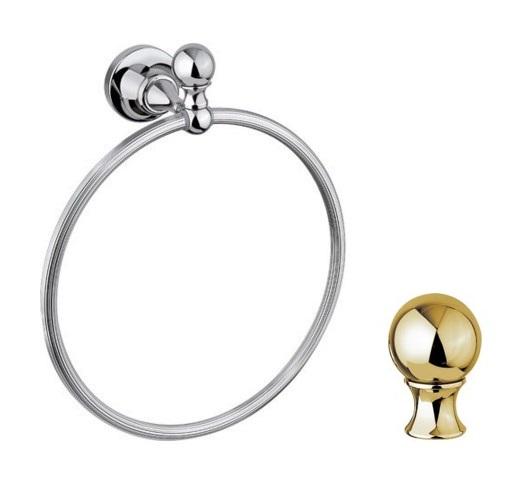 Полотенцедержатель кольцо Cezares Olimp RN-03/24-M цвет золото, ручки металл