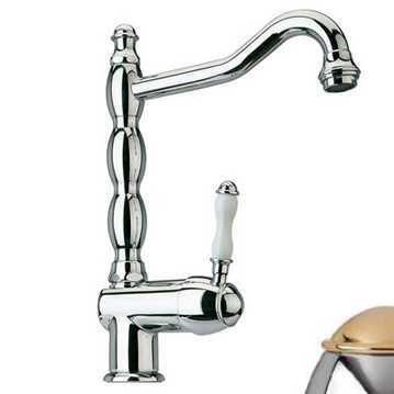 Смеситель Bandini Antico 857620KO00 для кухни, хром-золото/ручка керамическая Antico