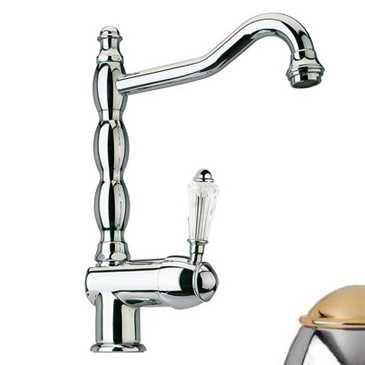 Смеситель Bandini Antico 857820KO00 для кухни, хром-золото/ручка Swarowski Antico