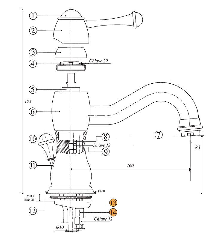 Смеситель Bandini Antico 850620KO00 для раковины, хром-золото/ручка керамическая Antico