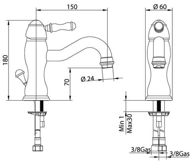 Смеситель Bandini Antico 850620JJ00 для раковины, медь/ручка керамическая Antico