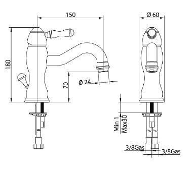 Смеситель Bandini Antico 852120JJ00 для биде, медь/ручка металлическая Antico