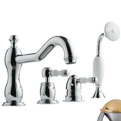 Смеситель Bandini Antico 5166400KO0G для ванны/душа, хром-золото/ручка керамическая Antico