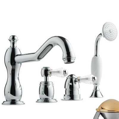 Смеситель Bandini Antico 5186400KO0G для ванны/душа, хром-золото/ручка Swarowski Antico