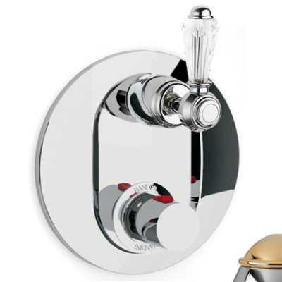 Смеситель термостатический Bandini Antico арт. 824820KO06D для ванны/душа, ручка Swarowski Antico, хром/золото