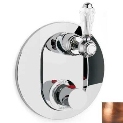 Смеситель термостатический Bandini Antico арт. 824820JJ06D для ванны/душа, ручка Swarowski Antico, медь