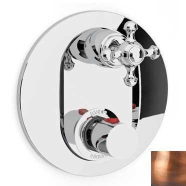 Смеситель термостатический Bandini Antico арт. 824920JJ06D для ванны/душа, ручка крестик Antica, медь