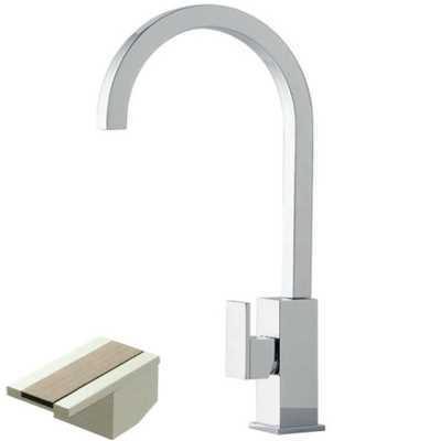 Смеситель Bandini Ice Cube 750220SN02LR для раковины, матовый никель/ручка белый дуб