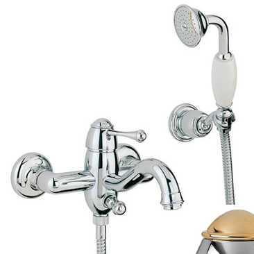 Смеситель Bandini Antico 855120KO00 для ванны/душа, хром-золото/ручка металлическая Antico