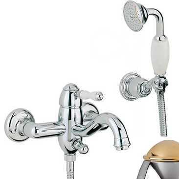 Смеситель Bandini Antico 855620KO00 для ванны/душа, хром-золото/ручка керамическая Antico