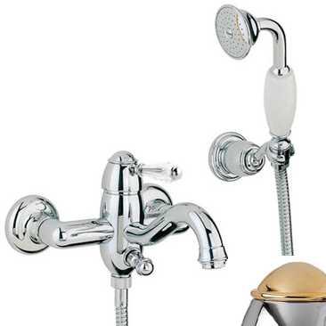 Смеситель Bandini Antico 855820KO00 для ванны/душа, хром-золото/ручка Swarowski Antico