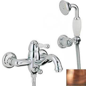 Смеситель Bandini Antico 855620JJ00 для ванны/душа, медь/ручка керамическая Antico