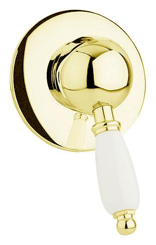 Смеситель Cezares ELITE-DIM-03/24-Bi для душа, золото, ручка белая