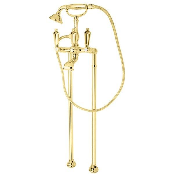 Смеситель Cezares FIRST-VDP-03/24-M для ванны и душа, напольный, золото 24 карат, ручки металл