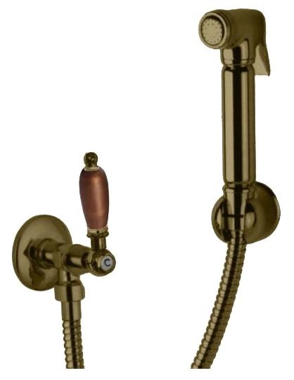 Гигиенический душ Cezares арт. FIRST-KS-02-Nc, бронза, ручка орех