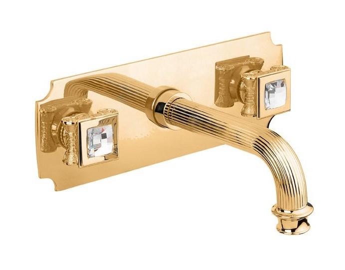 Смеситель Cezares Olimp BLS2-03/24-Sw цвет золото, ручки квадратные Swarovski