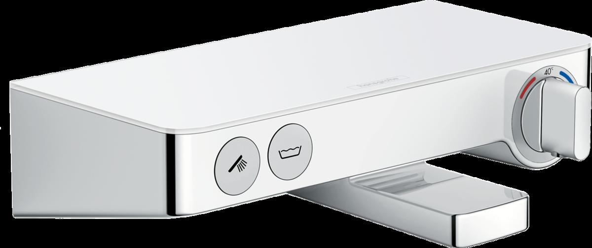 Смеситель Hansgrohe Ecostat Select 13151400 для ванны с кнопками управления, термостатический, белый/хром, 30 см