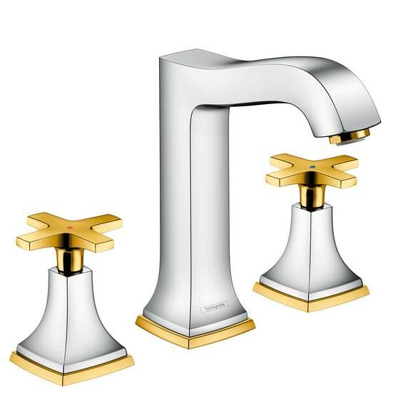 Смеситель Hansgrohe Metropol Classic 31307090 для раковины на 3 отверстия, хром/золото