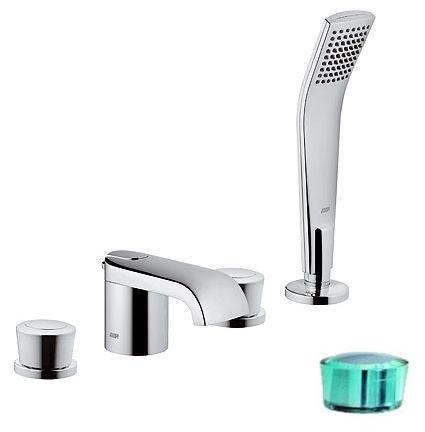 Смеситель Kludi Joop! 55424H705 для ванны и душа, хром/зеленый хрусталь