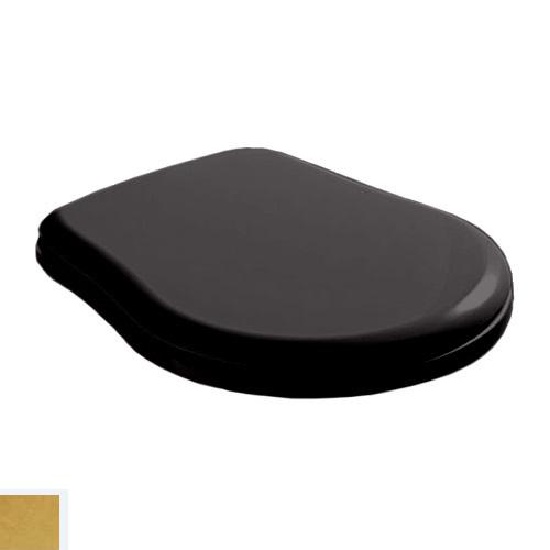 Крышка-сиденье Kerasan Retro 109104 standart, черное глянцевое, петли золото